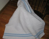 SALE White and Blue Baby Afghan