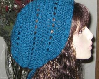 Slouchy Beanie Crochet Hat in Teal