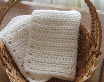 Cotton White Dishcloth/Washcloth set of 2