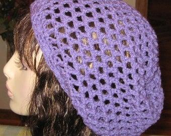 Sale Lavender Open Stitch Slouchy Beanie Dread Tam