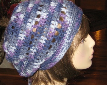 Purple Slouchy Beanie Dread Tam