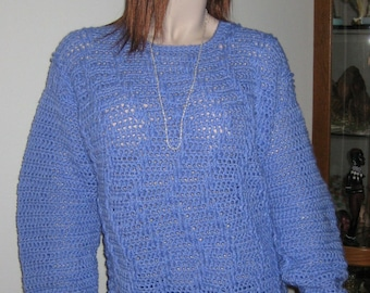 Blue Crocheted Tunic Sweater on Sale
