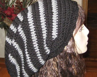Extra Long Slouchy Dread Sock Tam Black and Grey
