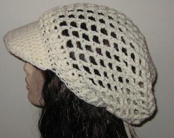 Aran Billed Mesh Dread Tam Snood Crocheted Hat