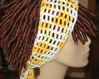 Cotton Yellow and White Dread Headband