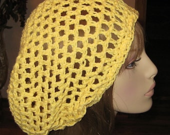 Cotton Yellow Open Sitich Snood Dread Tam Hat