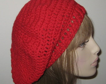 Red Wool Slouchy Beret Dread Tam