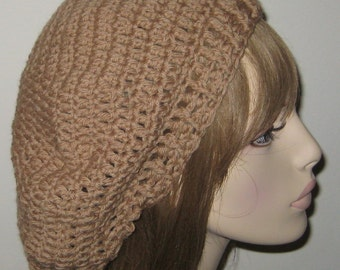Wool Slouchy Beret Dread Tam in Camel Winter Hat