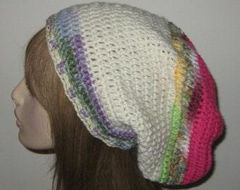 One of a Kind Slouchy Beanie Crochet Hat Sock Tam