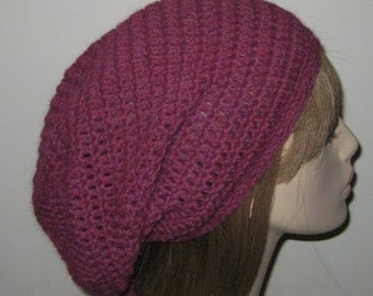 Alpaca Slouchy Beanie Dread Tam in Berry