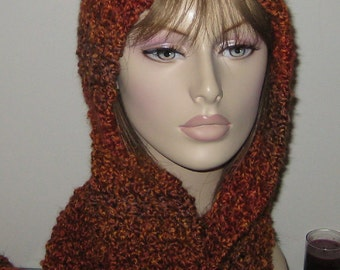 Homespun Hooded Scarf in Wild Fire