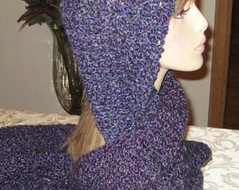 Homespun Hooded Scarf In Barrington