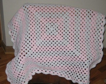 Pink and White Granny Baby Afghan