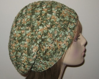 Slouchy Beanie Crochet Hat In greens and tan