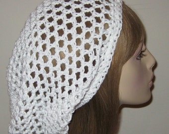 Cotton White Open Stitch Slouchy Beanie