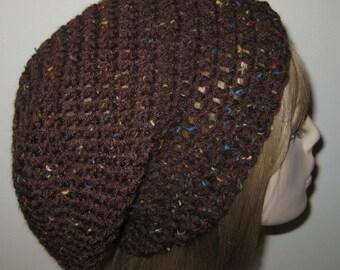Brown Fleck Slouchy Beanie Dread Tam Winter Hat