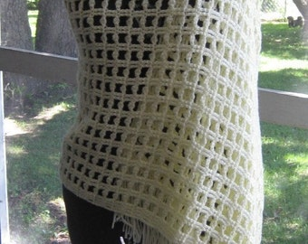 SALE Crocheted Off White Shawl