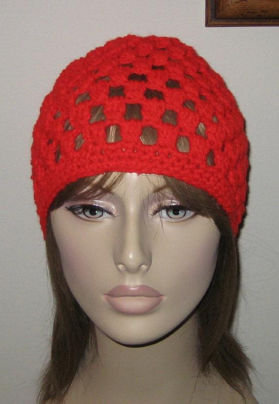 Red Crochet Beanie Cloche Hat