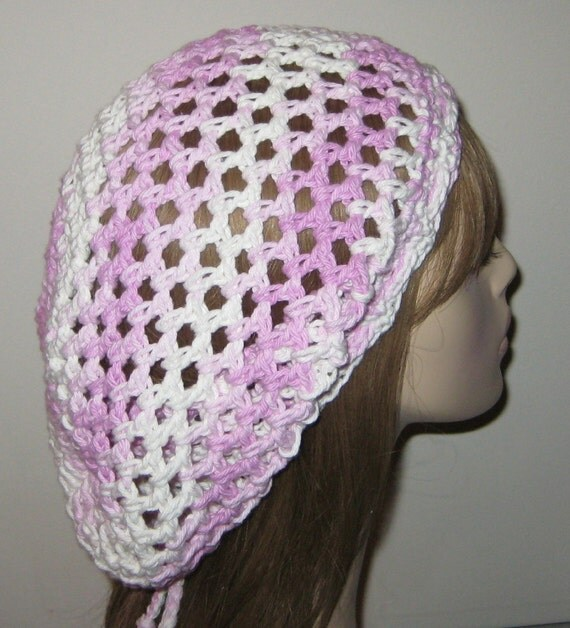 Cotton Lilac Ombres Slouchy Beanie Open Stitch Dread Tam