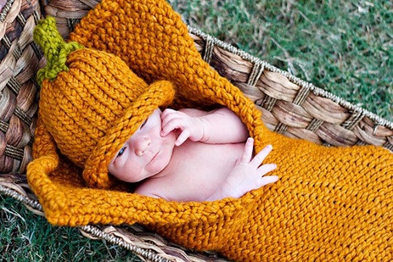 Lil Pumpkin cocoon wrap snuggler Photography Prop Are you ready for Fall