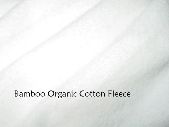 Unbleached Bamboo Organic cotton fleece fabric knit by the yard perfect for cloth diapers and baby clothing