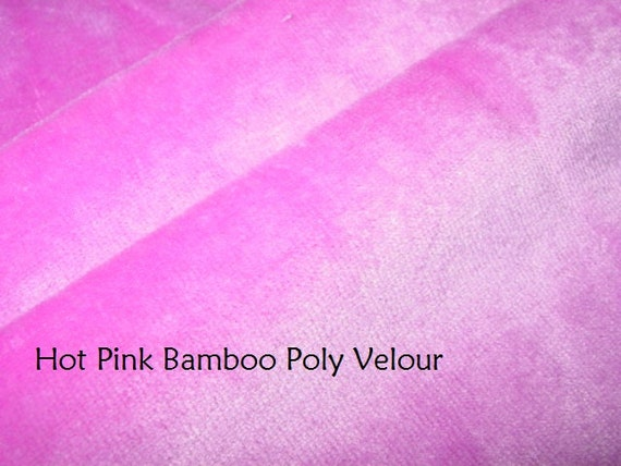 SUPER SALE 5 yards Hot Pink Bamboo Poly Velour knit stretch fabric Eco Friendly Many yards available 59 inches wide