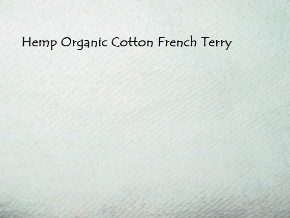 2 yards Hemp ORGANIC Cotton French Terry knit stretch fabric Unbleached off white by the yard Eco Friendly  55 inches wide