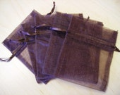 30 - 4 x 6 Brown Organza Bags - Great for wedding favors, sachets, jewelry, etc.