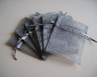 30 - 3 x 4 Silver Organza Bags - Great for wedding favors, sachets, jewelry, etc.