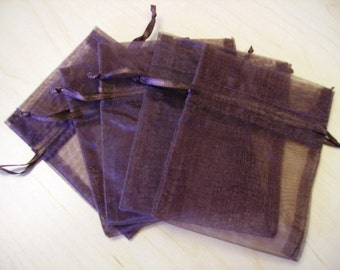 30 - 3 x 4 Brown Organza Bags - Great for wedding favors, sachets, jewelry, etc.