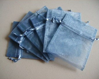 30 - 3 x 4 Smoke Blue Organza Bags - Great for wedding favors, sachets, jewelry, etc.
