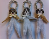 SHIH TZU puppy dogs vintage style chenille ORNAMENTS set of 3 feather tree