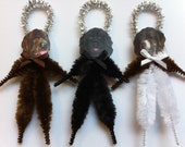 NEWFOUNDLAND DOG puppy dogs vintage style chenille ORNAMENTS set of 3 feather tree