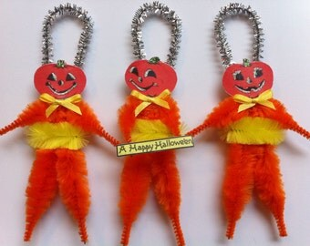 HALLOWEEN Jack O Lanterns w/yellow vintage style chenille JOL ORNAMENTS set of 3