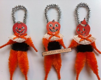 HALLOWEEN Jack O Lanterns w/black vintage style chenille JOL ORNAMENTS set of 3