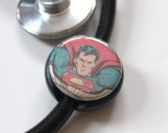 Vintage Superman----Stethoscope ID Tag