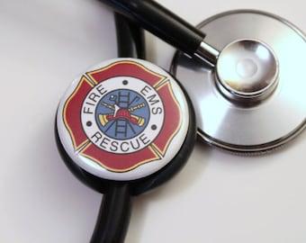 Fireman EMS Rescue Cross----Stethoscope ID Tag