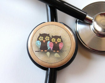The ORIGINAL Stethoscope ID Tag--Love Birds---