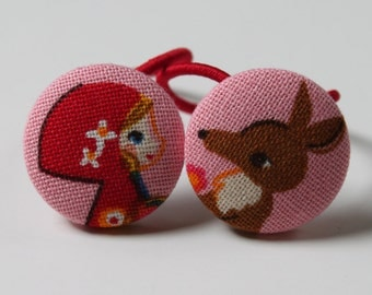 RED Riding HOOD BAD Wolf------2 Ponytail Holders