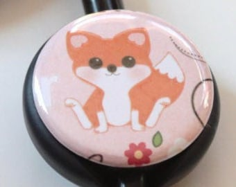 The ORIGINAL Stethoscope ID Tag--Cute Fox---