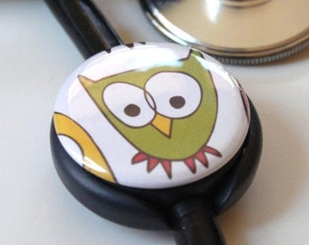 The ORIGINAL Stethoscope ID Tag--Cool Owl--