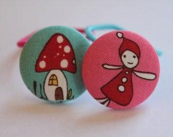Fairytale Fairy and Mushroom-------2 ponytail holders