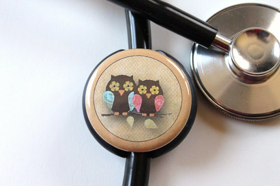 The ORIGINAL Stethoscope ID Tag--Love Birds---