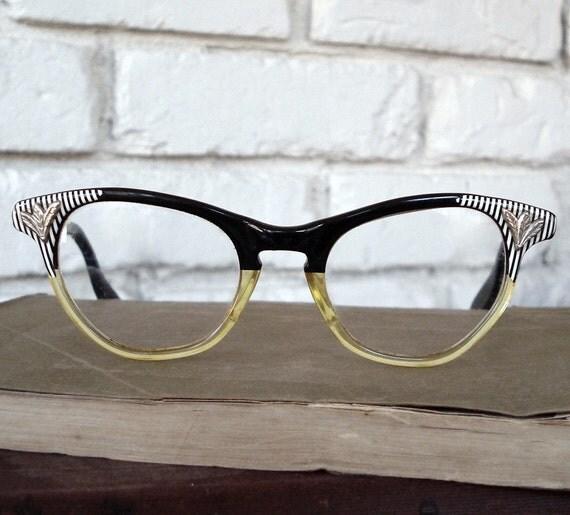 Eyeglass Frames Two Tone : Vintage Two Tone Cateye Eyeglasses Frames Fairfield Eyewear