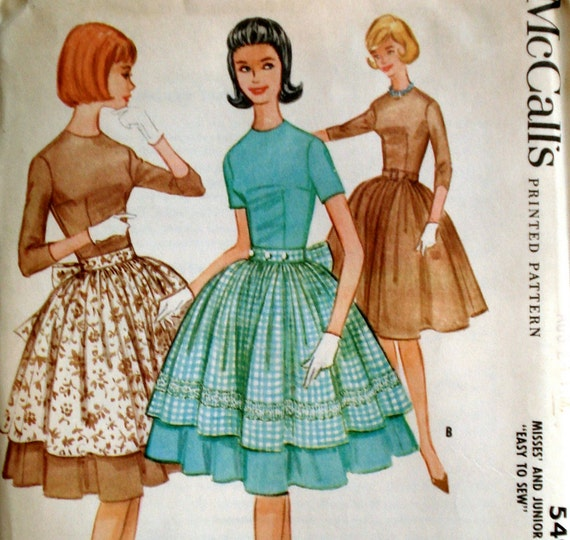 Vintage 1960s Four Gore Dress Pattern McCall's 5499 Bust 34 Factory Folded