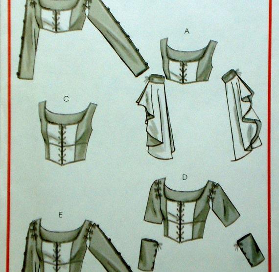 Renaissance Bodice Blouse & Gauntlet Pattern McCall's M4994 Size 6 8 10 12 Uncut