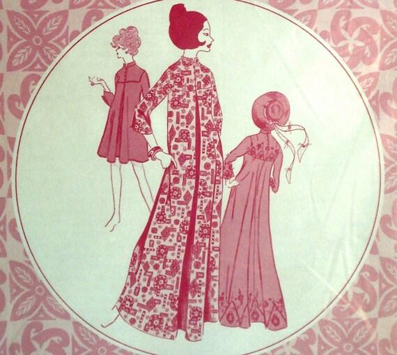 Vintage Hawaiian Muu Dress Pattern Patterns Pacifica 3015 Bust 36 Factory Folded