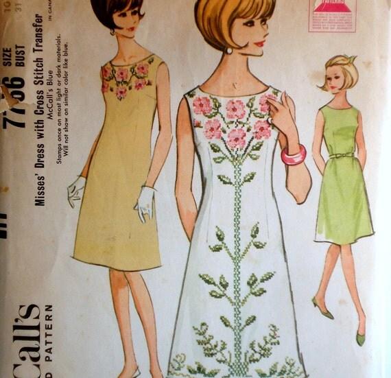 Vintage 1960s Sheath Dress Pattern & Cross Stitch Transfer McCall's 7766 Bust 31