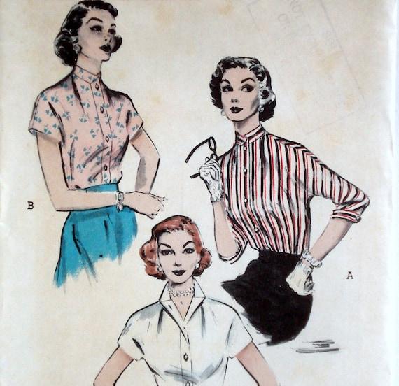 Vintage 1950s Blouse Pattern Butterick 6567 Bust 32 Convertible Collar
