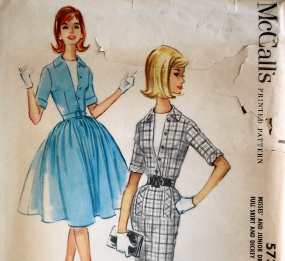 Vintage 60s Circle or Wiggle Dress Pattern McCall's 5737 Bust 34 Factory Folded